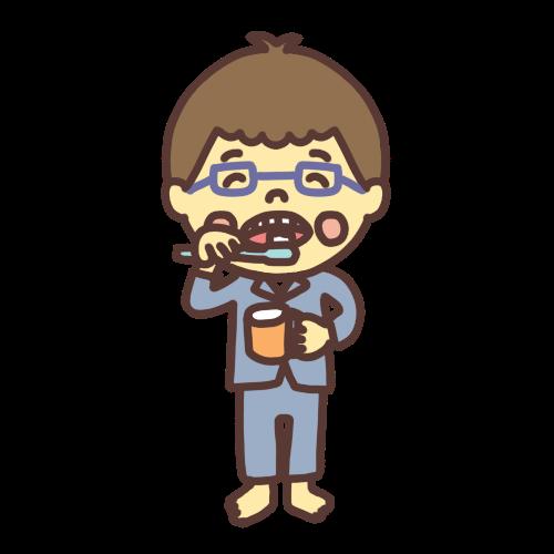 歯を磨くメガネの男の子のイラスト全身バージョン。