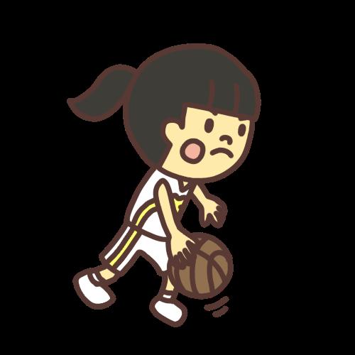バスケットボールの試合に出る子どものイラスト