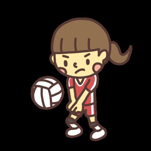 バレーボールでレシーブをする子どものイラスト
