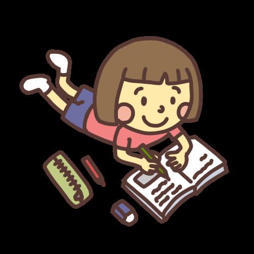 夏休みの宿題をニコニコしながらする子どものイラスト