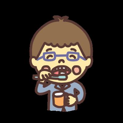 歯を磨くメガネの男の子のイラスト