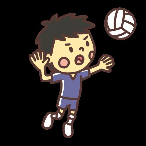 バレーボールでアタックをする人。