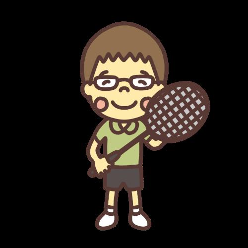 バドミントンをするメガネの小学生の男の子のイラスト