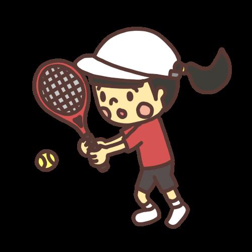 テニスボールを打つ女子小学生のイラスト