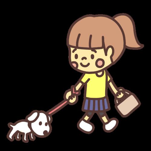 犬の散歩をする子どものイラスト