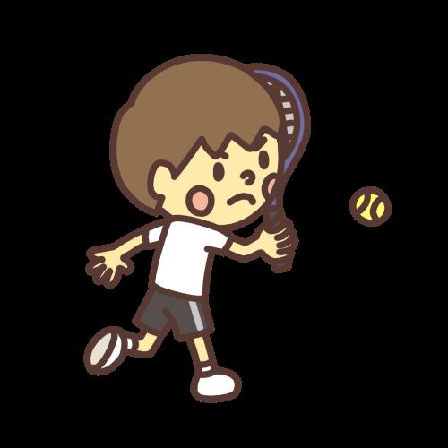 テニスでボールを打つ男の子のイラスト