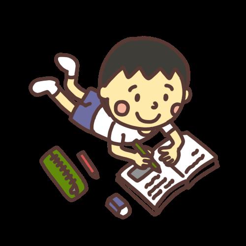 ニコニコしながら夏休みの宿題をする男の子のイラスト