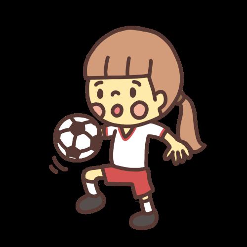 サッカーボールをリフティングする子どものイラスト