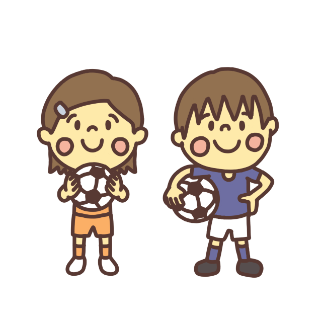 サッカー少年サッカー少女のイラスト