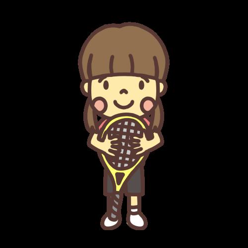 テニスのラケットを持った女の子のイラスト