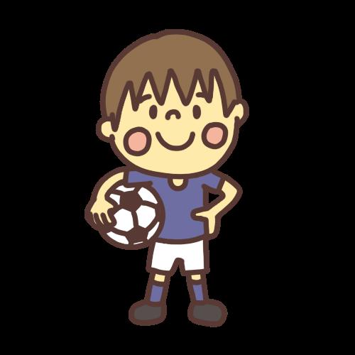 サッカーをする男子小学生のイラスト