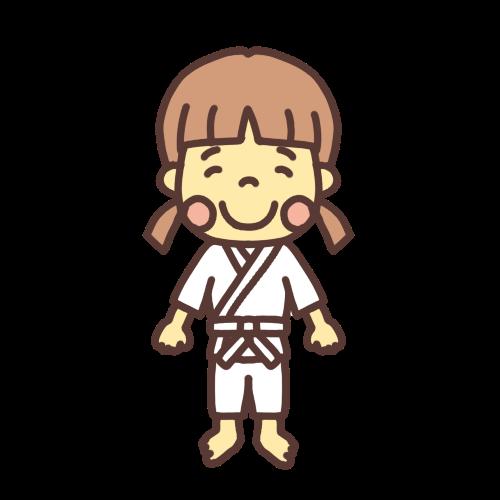 柔道着の女の子のイラスト