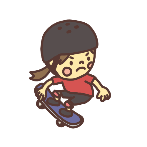 スケートボードで滑る子どものイラスト
