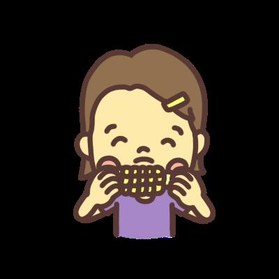 とうもろこしを食べる子どものイラスト
