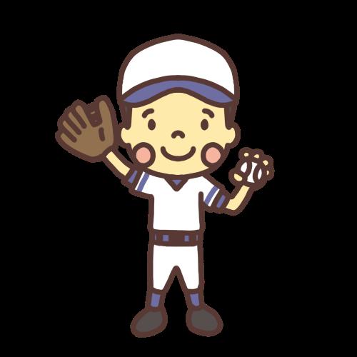 野球をする小学生男子のイラスト