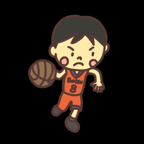 バスケットボールをドリブルする子どものイラスト