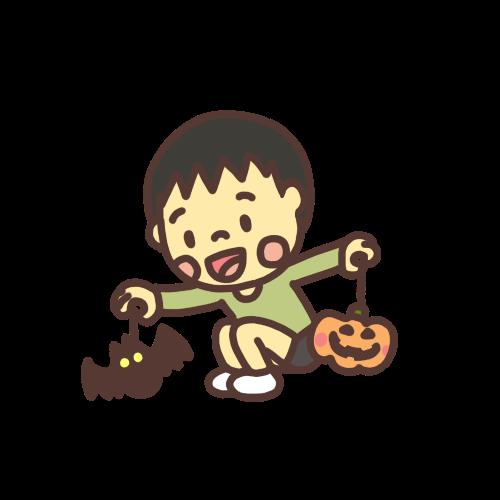 ハロウィンの飾り付けをする男の子のイラスト