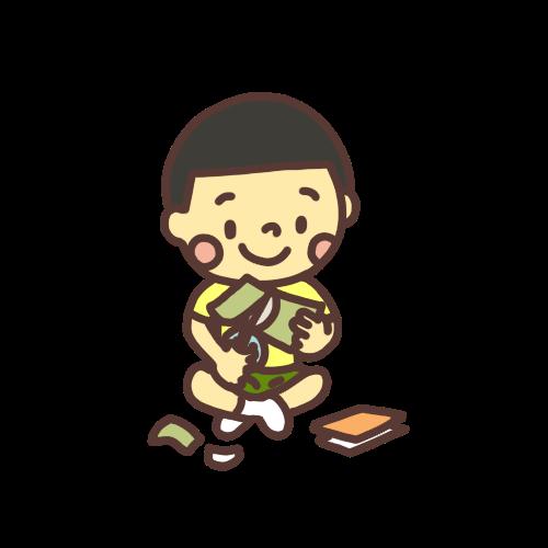 折り紙を切る男の子のイラスト