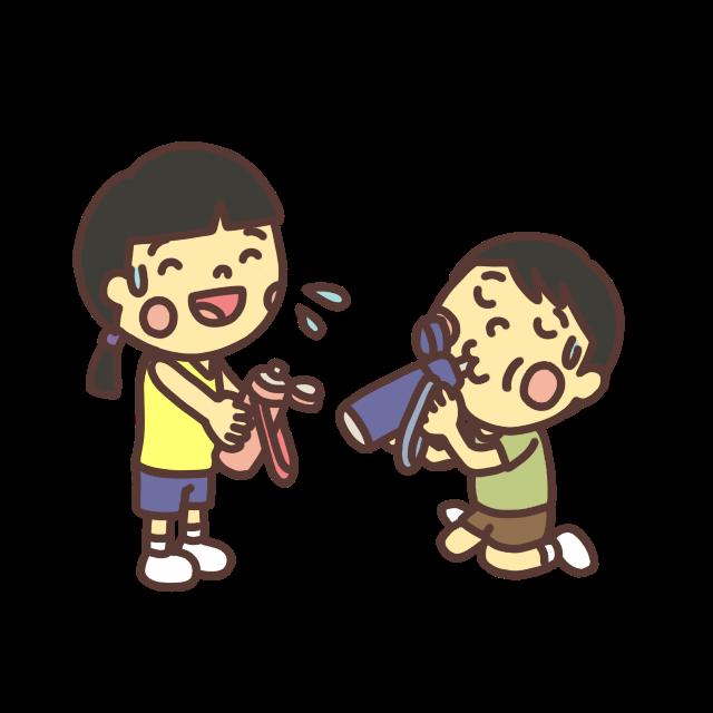 水筒の水を飲む子どものイラスト