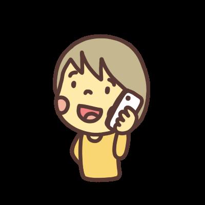 スマホで電話するジェンダーレスなキャラクターのイラスト 左向き