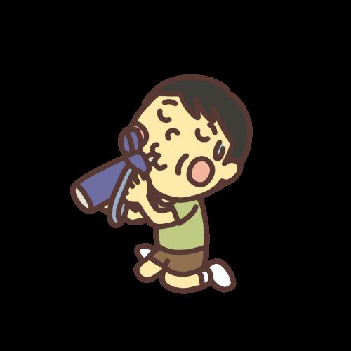 水筒の水を飲む男の子のイラスト