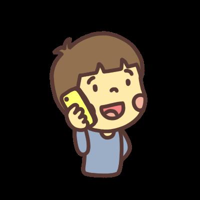 電話をする男の子のイラスト右向き