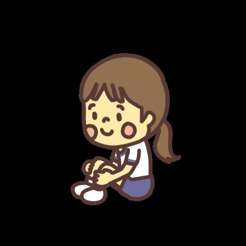 体育座りをする女の子のイラスト