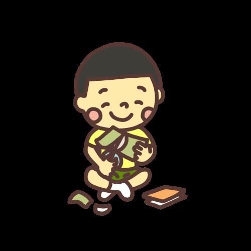 笑顔で折り紙を切る男の子のイラスト