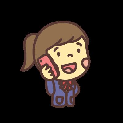 スマホで電話をかける女子学生右向き