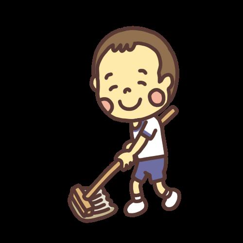モップがけ掃除をする男の子のイラスト
