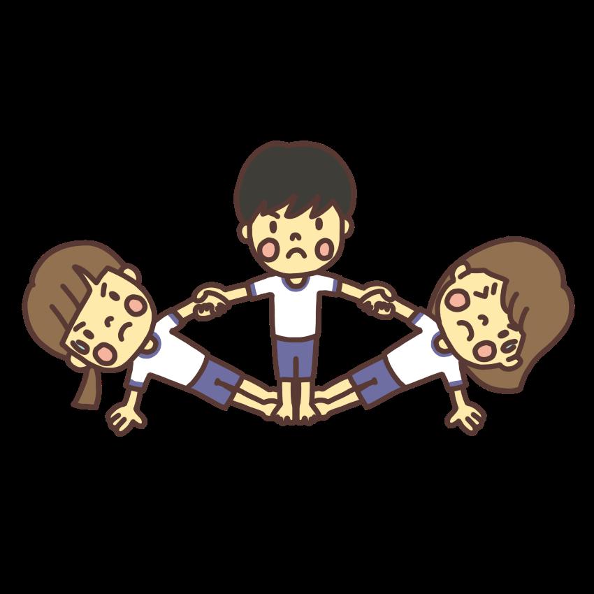 運動会で組体操の扇(おうぎ)をする子どものイラスト