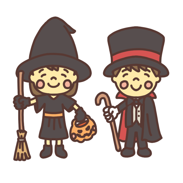 ハロウィンの仮装をする子どものイラスト ドラキュラ・魔女