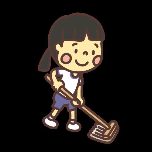 モップがけ掃除をする女の子のイラスト