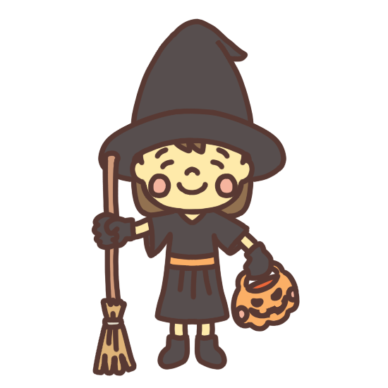 ハロウィンで魔女の仮装をする女の子のイラスト