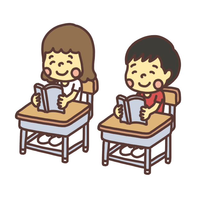 笑顔で教科書を読む子どものイラスト