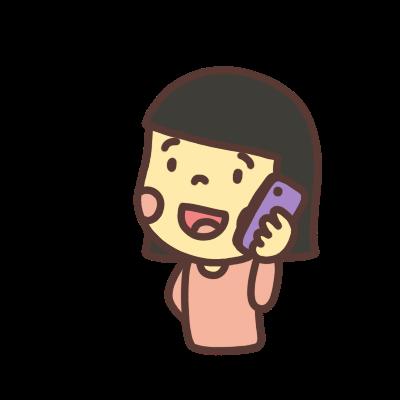 スマホで電話をかける女の子のイラスト左向き