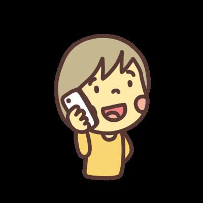 スマホで電話するジェンダーレスなキャラクターのイラスト 右向き