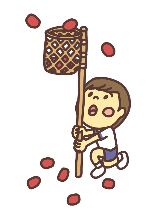 玉入れのカゴを持つ男の子のイラスト