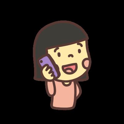 電話をする女の子のイラスト右向き