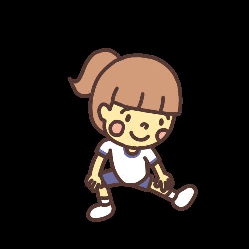 伸脚をする女の子のイラスト
