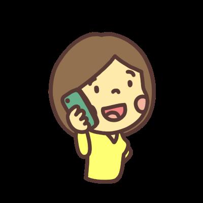 電話をかける女性のイラスト右向き