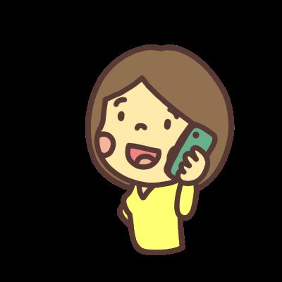 電話をかける女性のイラスト左向き