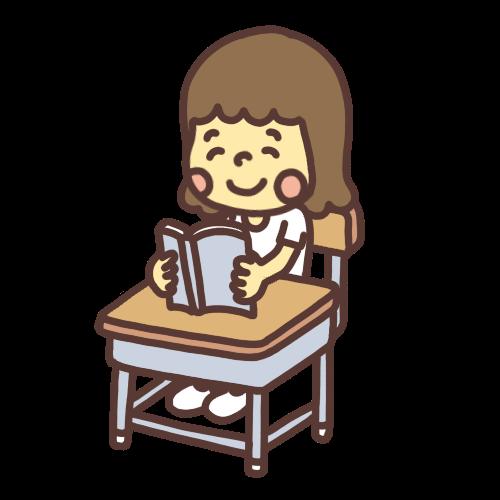 笑顔で本を読む女の子のイラスト