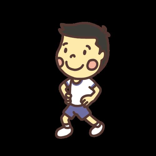 アキレス腱を伸ばす運動をする男の子のイラスト