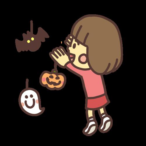 ハロウィンの飾り付けをする女の子のイラスト