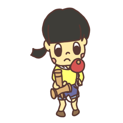 けん玉で遊ぶ女の子のイラスト
