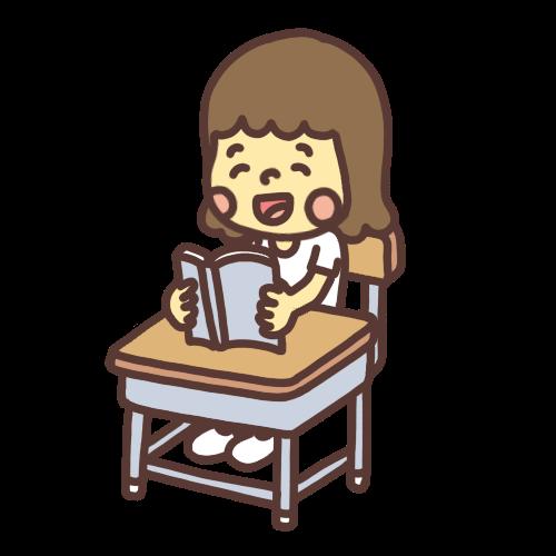 笑顔で本を音読する女の子のイラスト