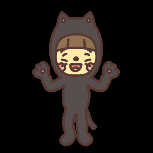 ハロウィンで猫の着ぐるみを着て仮装する女の子のイラスト