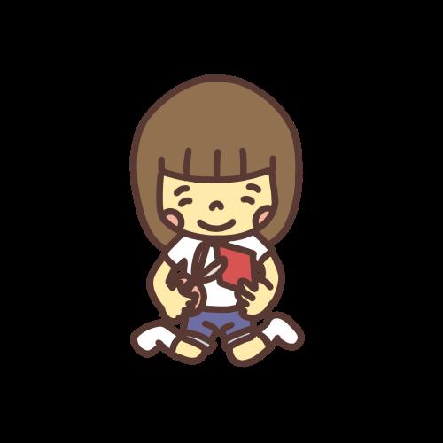 笑顔で折り紙を切る女の子のイラスト