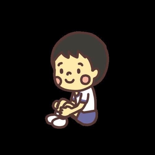体育座りをする男の子のイラスト